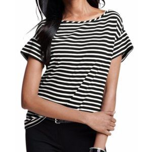 ANN TAYLOR Striped Short Sleeve Ponte Top Black